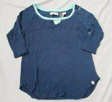 ABERCROMBIE & FITCH womens XS navy blue mint green trim 3/4 sleeve top NEW