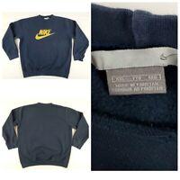 Vintage Nike Crewneck Sweatshirt Navy Blue / Yellow Swoosh XXL Travis Scott 90s