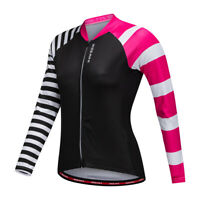 Women Cycling Jersey Long Sleeve MTB Road Bike Riding Breathable Elastic Tops