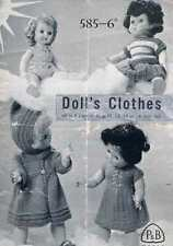 """Vintage Knitting Pattern for Dolls Clothes to fit 10-16"""" doll - PDF copy emailed"""