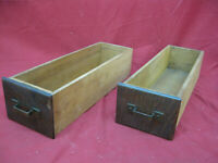 Rustic Oak Pair of Antique Small Drawers Shadow Boxes Wood Primitive Country #2