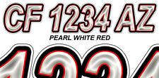 PEARL WHITE RED Custom Boat Registration Numbers Decals Vinyl Lettering Stickers