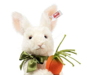 "Steiff BENNY SPRINGTIME BUNNY RABBIT 10"" (30)cm White Mohair Bunny Rabbit"
