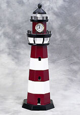 """Painted Red and White Wooden Lighthouse With 2"""" Clock 7"""" X 22"""" ~ Nautical Decor"""
