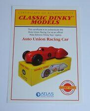 Atlas/dinky toys 23D, auto union voiture de course, certificat d'authenticité, mint