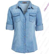 Womens Embellished Collar Denim Shirt Light Blue Jean Shirts Size 8 to 14