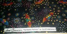 Laurel Burch Fantastic Felines Fabric Cat Flying Wings Faces Celestial Star BTY