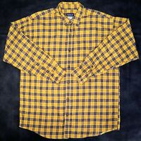 Patagonia Mens Large Yellow Blue Plaid Long Sleeve Button Up Flannel Shirt