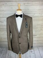 NWT U.S. Polo Assn. Brown Elbow Patch 2 Btn Sport Coat Mens 46R Wool Blend
