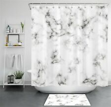 Marble Prints Abstract Gray and White Waterproof Fabric Shower Curtain Set 72""