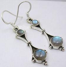"""OXIDIZED Jewelry !! 925 Sterling Silver LABRADORITE ART Dangle Earrings 1.8"""""""
