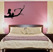 Wall Stickers Vinyl Decal Little Girl Sitting On A Branch Tree Cool Decor z1594