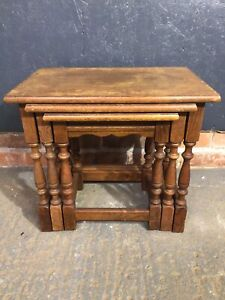 Vintage Oak Nest Of 3 Tables, Old Charm Style.