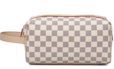 NEW Small Cosmetic Bag/Small Checkered Handbag in Black or Beige
