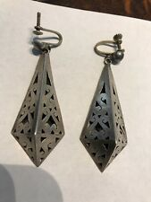 Vintage Mexican Jewelry Sterling Silver EARRINGS makers mark TFV