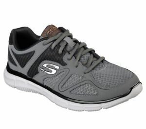 Skechers Wide Fit Charcoal Shoes Men Comfort Casual Mesh Sport Memory Foam 58350