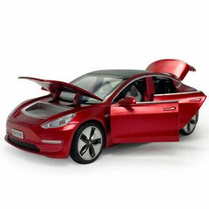 1:32 Tesla Model 3 Sedan Model Car Diecast Kids Toy Vehicle Sound Collection Red