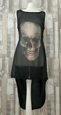 Atmosphere Black Skull Print Backless Floaty Long Top Dress Size 12