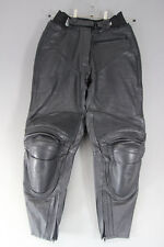 IXS BLACK LEATHER BIKER TROUSERS WITH REMOVABLE CE PROTECTORS:WAIST 28/I LEG 27""
