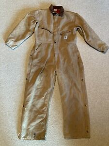 Carhartt vintage Coveralls Mens size 48 Reg Tan with red Insulated Made in USA