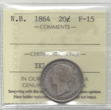 **1864**New Brunswick, 20 Cent, ICCS Graded, **F-15**