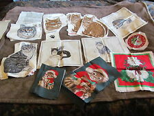 New listing Huge Lot Of Cat Appliques & Panels - Heads & Whole Bodies - Must See These !