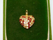 Darling Ruby Red White Rhinestone Puffy Heart Pendant Chain Necklace 11d 86