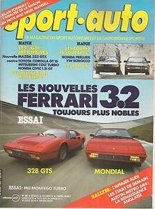 SPORT AUTO 287 1985 FERRARI MONDIAL 3.2 & 328 GTS GP AUSTRALIE MG METRO 6R4