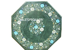 12'' Green Marble Top Coffee Table Inlay Turquoise Pietra Dura Home Decor H3109
