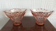 Two Beautiful Art Deco Pink Glass Flower Arrangers With Flower Frogs