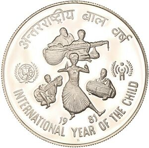India - Silver 100 Rupees Coin - 'Year of the Child' - 1981 - Proof