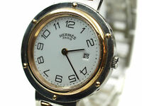 HERMES CLIPPER White Dial Date Stainless Steel Quartz Ladies Watch HW12893L