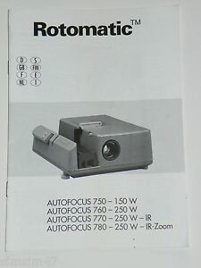 Originale Bedienungsanleitung für Diaprojektor Rotomatic AF 750/760/770/780-IR