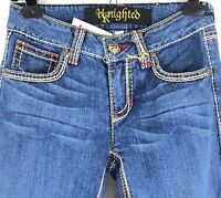New UKnighted Stretch Jeans Embroidered Seams Pockets Made in USA Womens 27 NWT