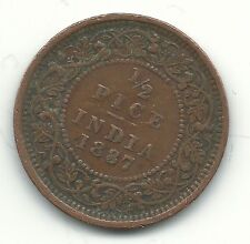 VERY NICE 1887 BRITISH INDIA PRINCELY STATES 1/2 PICE COIN-APR152