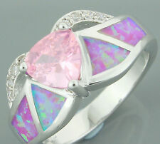 Pink Topaz on Inlaid Fire Opal White Gold Filled Ring, A Snug Size 8