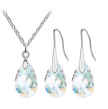 Bridal AB White Crystal Almond Jewellery Set Drop Earrings Necklace Pendant S743