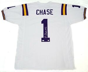 JAMARR CHASE SIGNED WHITE LSU TIGERS STYLE JERSEY BECKETT WITNESS BAYOU BENGALS