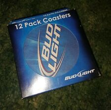 "Budweiser Bud Light Beer 12 Pack Boxed 4"" Round Coasters 2009"