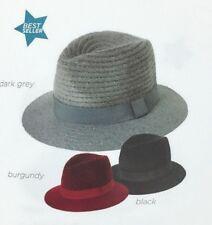 Chenille crown w/ wool blend brim Vintage Women Fedora Hat Trilby Cap Panama