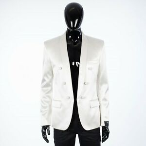 BALMAIN 2950$ White Double Breasted Silk Blazer