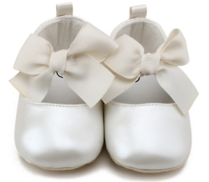 Baby Shower Girls Children Kids Christening Pearl White Synthe Leather bow Shoes