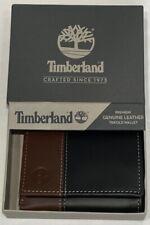 Genuino Negro/Marrón Cuero Timberland cartera Triple Totalmente Nuevo En Caja De Regalo