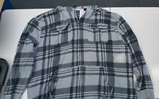 Nautica 4XL Gray.Dark Gray Striped Hooded Light weight terry jacked/flannel