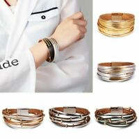Charm Genuine Leather Multilayer Magnet Bracelet Wrap Cuff Womens Jewellery Gift