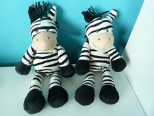 Bundle of 2 Mothercare White Black Zebra Zebras Baby Comforters Soft Toys 11""