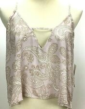 NWT Tobi Womens Rayon Blend Paisley Small Crop Top Halter Top Adjustable Straps