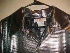 VERY RARE VINTAGE MENS METALLIC PARTY SHIRT THE COLORS BLACK & SILVER AWESOME L