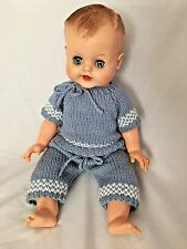 """Vintage Moving Blue Eyes Formed Hair Hands Feet 19"""" Doll in Blue Outfit"""