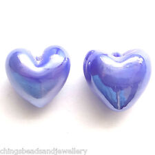 30 Sapphire AB Lampwork Glass 12mm Heart Beads